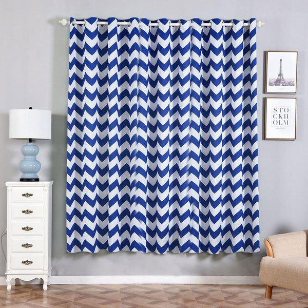"Chevron Blackout Curtains | Pack of 2 | White & Royal Blue Chevron Curtains | 52""x84"" Grommet Curtains 
