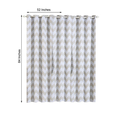 Chevron Blackout Curtains | Pack of 2 | White & Silver Chevron Curtains | 52 x 84 Inch Grommet Curtains | Designer Blackout Curtains