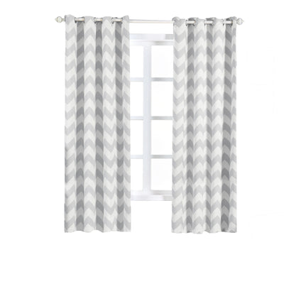 "Chevron Blackout Curtains | Pack of 2 | White & Silver Chevron Curtains | 52""x84"" Grommet Curtains 