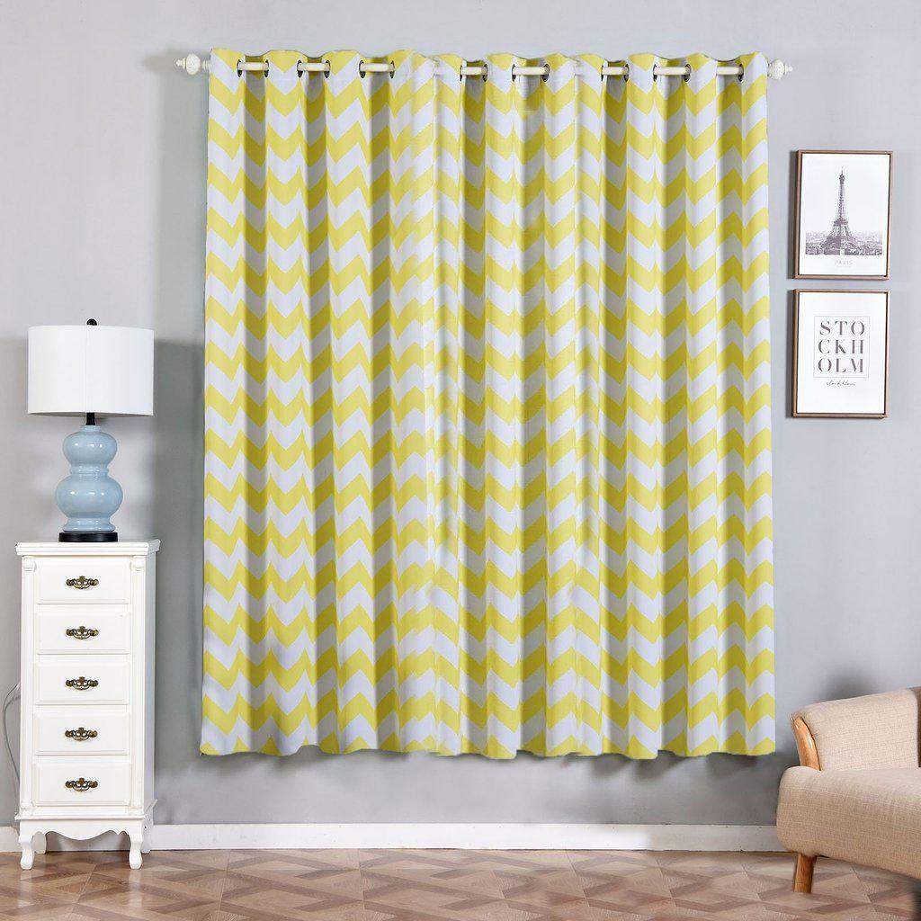 Blackout Curtains 52x84 White Yellow Chevron Design Pack Of 2 Thermal Insulated With Chrome Grommet Window Treatment Panels
