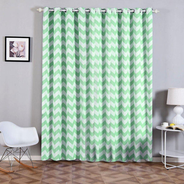 "Chevron Blackout Curtains | Pack of 2 | White & Mint Blackout Curtains | 52""x96"" Grommet Curtains 