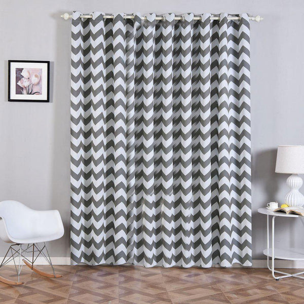 "Chevron Blackout Curtains | Pack of 2 | White & Charcoal Gray Blackout Curtains | 52""x96"" Grommet Curtains 