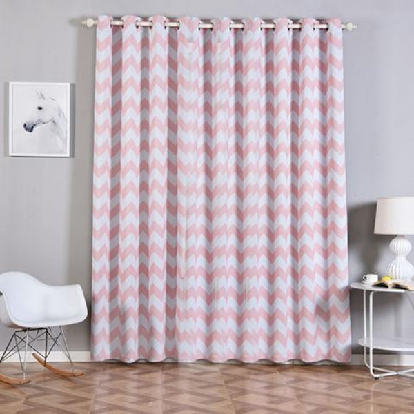 "Chevron Blackout Curtains | Pack of 2 | White & Blush Blackout Curtains | 52""x96"" Grommet Curtains 