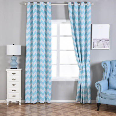 Chevron Blackout Curtains | Pack of 2 | White & Baby Blue Blackout Curtains | 52 x 96 Inch Grommet Curtains | Blackout Patterned Curtains