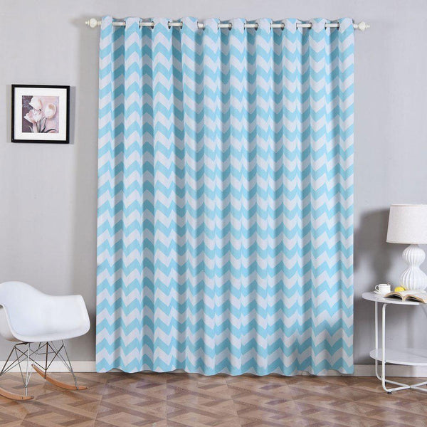 "Chevron Blackout Curtains | Pack of 2 | White & Baby Blue Blackout Curtains | 52""x96"" Grommet Curtains 