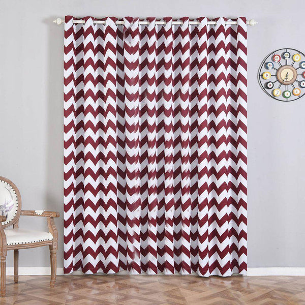 "Chevron Blackout Curtains | Pack of 2 | White & Burgundy Blackout Curtains | 52""x96"" Grommet Curtains 