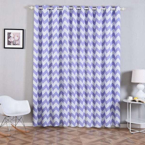 "Chevron Blackout Curtains | Pack of 2 | White & Lavender Blackout Curtains | 52""x96"" Grommet Curtains 