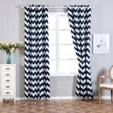 Chevron Blackout Curtains | Pack of 2 | White & Navy Blue Blackout Curtains | 52 x 96 Inch Grommet Curtains | Soundproof Velvet Curtains