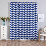 Chevron Blackout Curtains | Pack of 2 | White & Royal Blue Blackout Curtains | 52 x 96 Inch Grommet Curtains | Eyelet Blackout Curtains