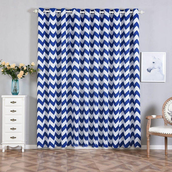"Chevron Blackout Curtains | Pack of 2 | White & Royal Blue Blackout Curtains | 52""x96"" Grommet Curtains 