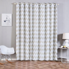 Chevron Blackout Curtains | Pack of 2 | White & Silver Blackout Curtains | 52 x 96 Inch Grommet Curtains | Soundproofing Curtains