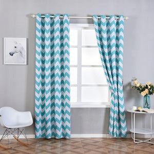 Chevron Blackout Curtains | Pack of 2 | White & Turquoise Blackout Curtains | 52 x 96 Inch Grommet Curtains | Soundproofing Curtains