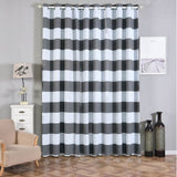 Cabana Stripe Curtains | Pack of 2 | White & Charcoal Gray Blackout Curtains | 52 x 108 Inch Grommet Curtains | Soundproofing Curtains