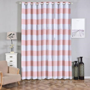 Cabana Stripe Curtains | Pack of 2 | White & Blush Blackout Curtains | 52 x 108 Inch Grommet Curtains | Room Darkening Curtains With Grommets