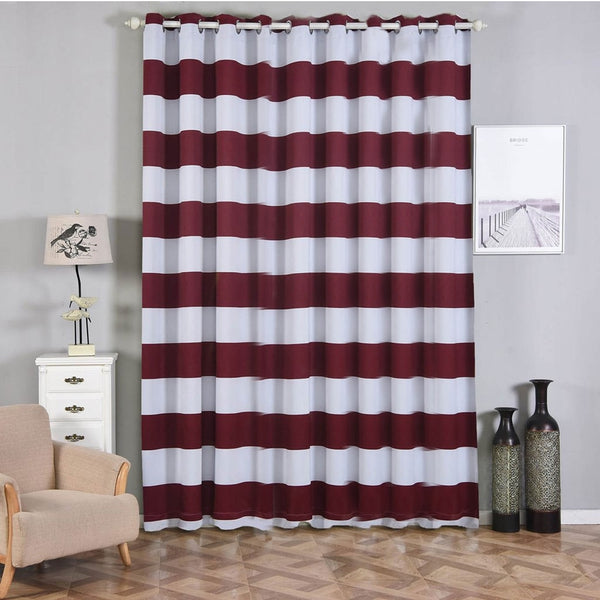 "Cabana Stripe Curtains | Pack of 2 | White & Burgundy Blackout Curtains | 52""x108"" Grommet Curtains 