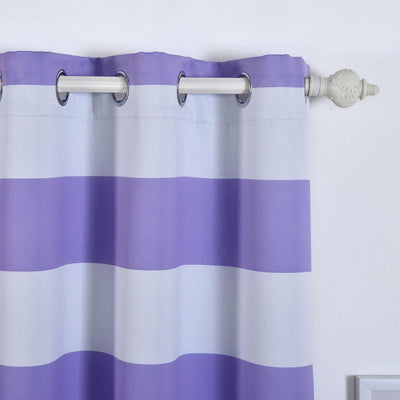 Cabana Stripe Curtains | Pack of 2 | White & Lavender Blackout Curtains | 52 x 108 Inch Grommet Curtains | Soundproofing Curtains