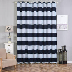 Cabana Stripe Curtains | Pack of 2 | White & Navy Blue Blackout Curtains | 52 x 108 Inch Grommet Curtains | Designer Blackout Curtains