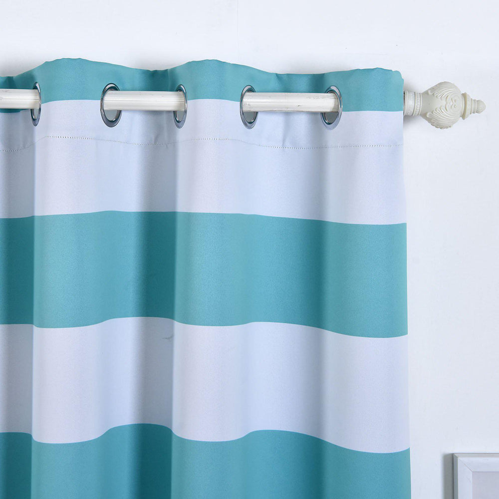 Blackout Curtains 52x108 White Turquoise Cabana Stripe Pack Of 2 Thermal Insulated