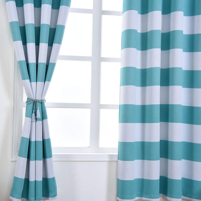 Cabana Stripe Curtains | 2 Packs | White & Turquoise Blackout Curtains | 52 x 108 Inch Grommet Curtains | Soundproofing Curtains