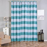 Cabana Stripe Curtains | Pack of 2 | White & Turquoise Blackout Curtains | 52 x 108 Inch Grommet Curtains | Soundproofing Curtains