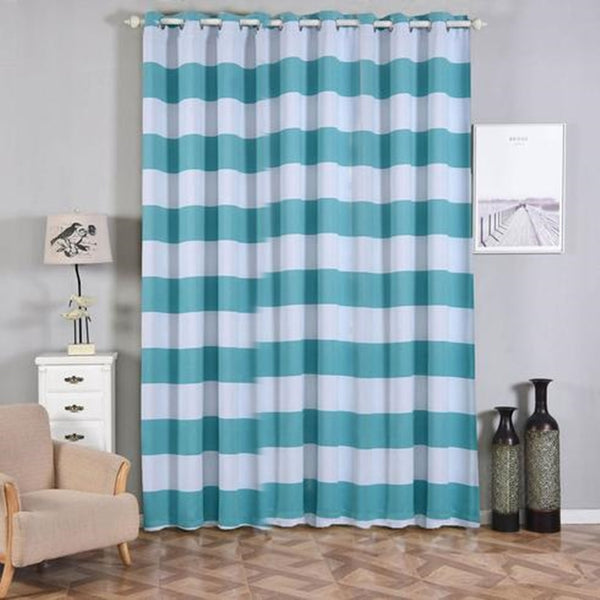 Cabana Stripe Curtains | Pack of 2 | White & Turquoise Blackout Curtains | 52 x 108 Inch Grommet Curtains | Soundproofing Curtains - Clearance SALE
