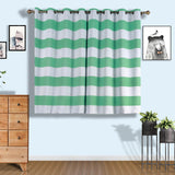 Cabana Stripe Curtains | Pack of 2 | White & Mint Blackout Curtains | 52 x 64 Inch Grommet Curtains | Noise Cancelling Curtains