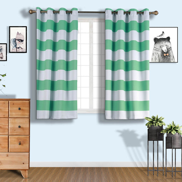 "Cabana Stripe Curtains | Pack of 2 | White & Mint Blackout Curtains | 52""x64"" Grommet Curtains 