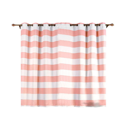 Cabana Stripe Curtains | Pack of 2 | White & Blush Blackout Curtains | 52 x 64 Inch Grommet Curtains | Soundproof Velvet Curtains