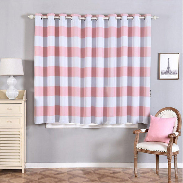 "Cabana Stripe Curtains | Pack of 2 | White & Blush Blackout Curtains | 52""x64"" Grommet Curtains 