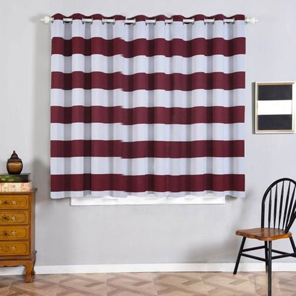 "Cabana Stripe Curtains | Pack of 2 | White & Burgundy Blackout Curtains | 52""x64"" Grommet Curtains 