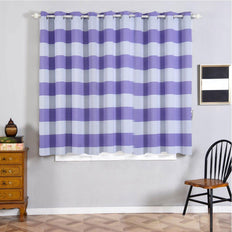 Cabana Stripe Curtains | Pack of 2 | White & Lavender Blackout Curtains | 52 x 64 Inch Grommet Curtains | Eclipse Blackout Curtains Grommet