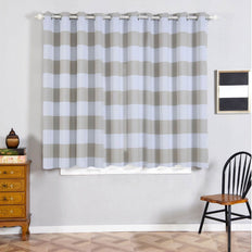 "Cabana Stripe Curtains | Pack of 2 | White & Silver Blackout Curtains | 52""x64"" Grommet Curtains 