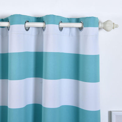 Cabana Stripe Curtains | Pack of 2 | White & Turquoise Blackout Curtains | 52 x 64 Inch Grommet Curtains | Thermal Grommet Curtains