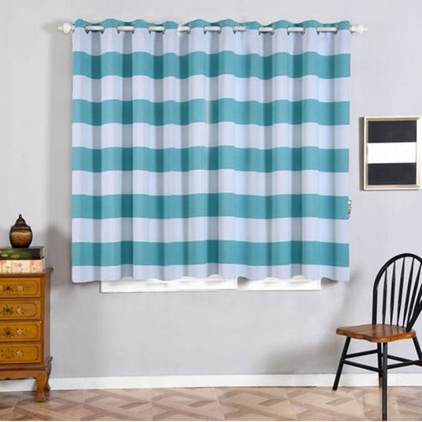 "Cabana Stripe Curtains | Pack of 2 | White & Turquoise Blackout Curtains | 52""x64"" Grommet Curtains 