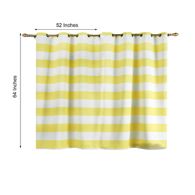 Cabana Stripe Curtains | Pack of 2 | White & Yellow Blackout Curtains | 52 x 64 Inch Grommet Curtains | Sound Absorbing Curtains
