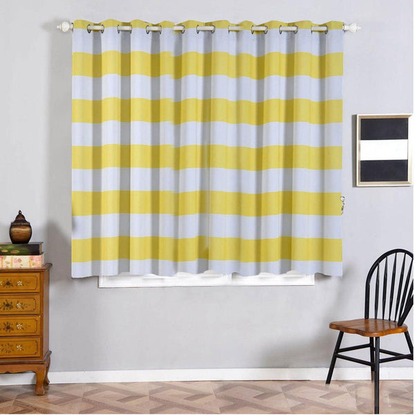 "Cabana Stripe Curtains | Pack of 2 | White & Yellow Blackout Curtains | 52""x64"" Grommet Curtains 