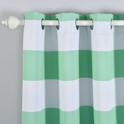 Cabana Stripe Curtains | Pack of 2 | White & Mint Blackout Curtain | 52 x 84 Inch Grommet Curtains | Room Darkening Curtains With Grommets