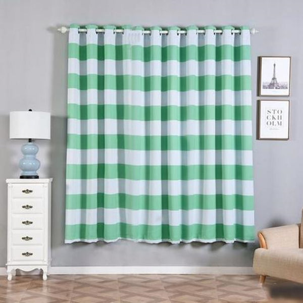 "Cabana Stripe Curtains | Pack of 2 | White & Mint Blackout Curtain | 52""x84"" Grommet Curtains 