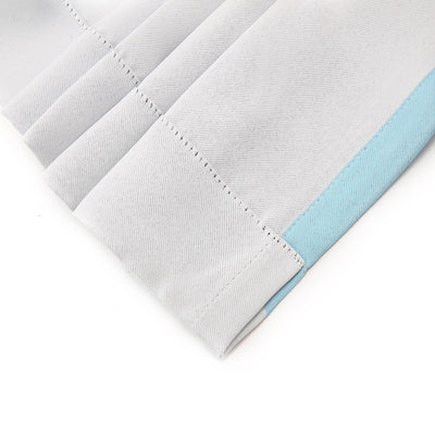 Cabana Stripe Curtains | Pack of 2 | White & Baby Blue Blackout Curtain | 52 x 84 Inch Grommet Curtains | Soundproofing Curtains