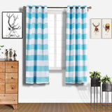 "Cabana Stripe Curtains | Pack of 2 | White & Baby Blue Blackout Curtain | 52""x84"" Grommet Curtains 
