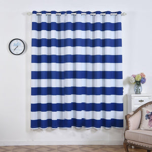 Cabana Stripe Curtains | Pack of 2 | White & Royal Blue Blackout Curtain | 52 x 84 Inch Grommet Curtains | Eyelet Blackout Curtains