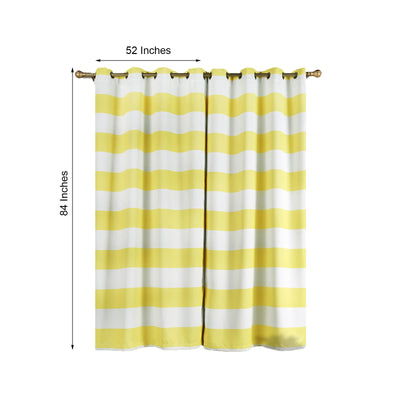 Cabana Stripe Curtains | Pack of 2 | White & Yellow Blackout Curtain | 52 x 84 Inch Grommet Curtains | Noise Cancelling Curtains