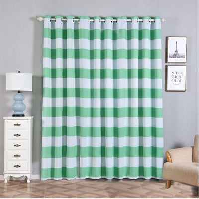 Cabana Stripe Curtains | Pack of 2 | White & Mint Blackout Curtain | 52 x 96 Inch Grommet Curtains | Room Darkening Curtains