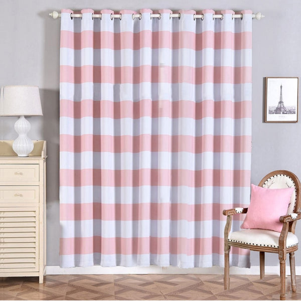 "Cabana Stripe Curtains | Pack of 2 | White & Blush Blackout Curtain | 52""x96"" Grommet Curtains 