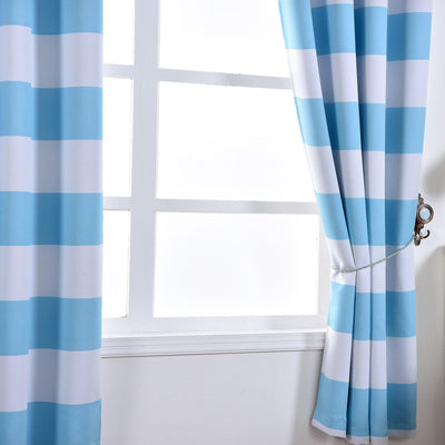 Cabana Stripe Curtains | Pack of 2 | White & Baby Blue Blackout Curtain | 52 x 96 Inch Grommet Curtains | Blackout Patterned Curtains