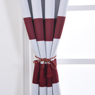 Cabana Stripe Curtains | Pack of 2 | White & Burgundy Blackout Curtain | 52 x 96 Inch Grommet Curtains | Curtain Sound Absorption