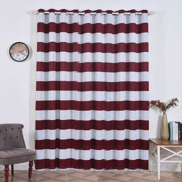 "Cabana Stripe Curtains | Pack of 2 | White & Burgundy Blackout Curtain | 52""x96"" Grommet Curtains 