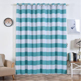 Cabana Stripe Curtains | Pack of 2 | White & Turquoise Blackout Curtain | 52 x 96 Inch Grommet Curtains | Room Darkening Curtains