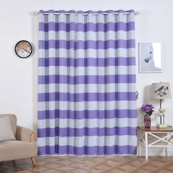 "Cabana Stripe Curtains | Pack of 2 | White & Lavender Blackout Curtain | 52""x96"" Grommet Curtains 