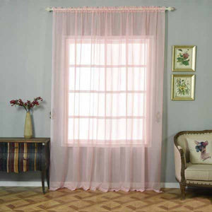 "Pack of 2 | 52""x108"" Sheer Organza Curtains With Rod Pocket Window Treatment Panels - Rose Gold 
